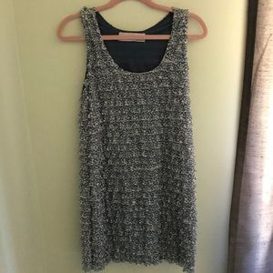 ZARA Blue & White Layered Ruffle Shift Dress